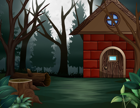 illustration house in front of full moon background Stock Photo