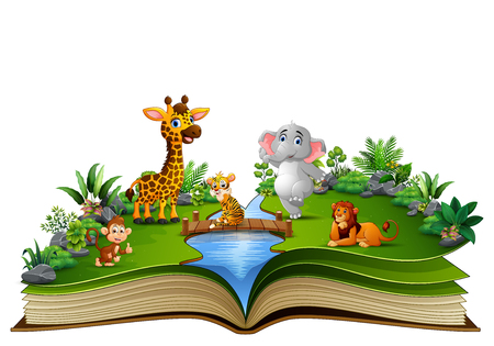 Open book with the animal cartoon playing in the river Stok Fotoğraf