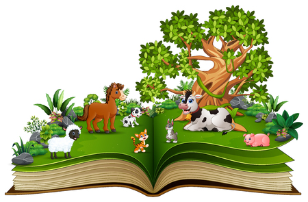 Open book with farm animal cartoon playing in the park under a big tree Foto de archivo