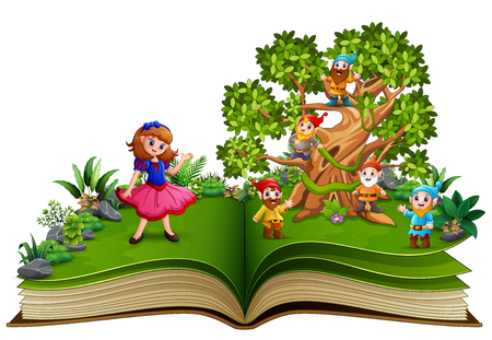 Open book with dwarf cartoon on the trees and the snow white Stok Fotoğraf