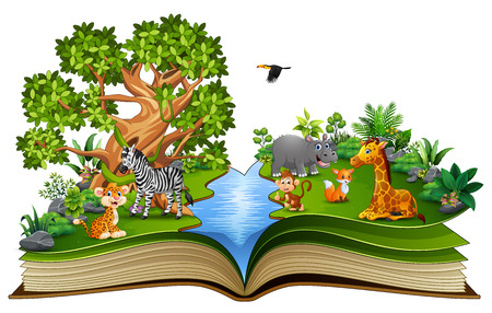 Open book with the animal cartoon playing in the river Banco de Imagens