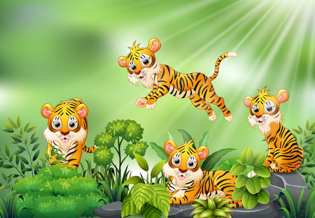Nature scene with group of tiger cartoon Reklamní fotografie