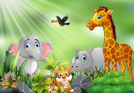 Nature scene with wild animals cartoon