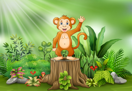 Cute monkey cartoon waving and standing on tree stump with green plants Illustration