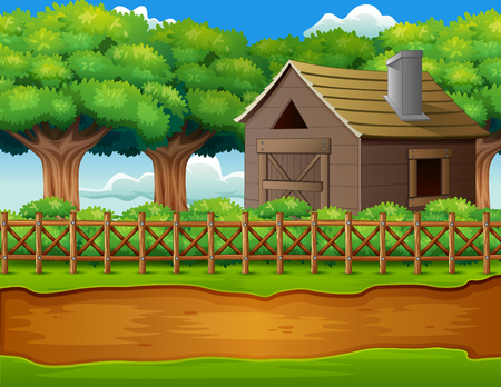 Farm landscape with shed and green plants Illustration