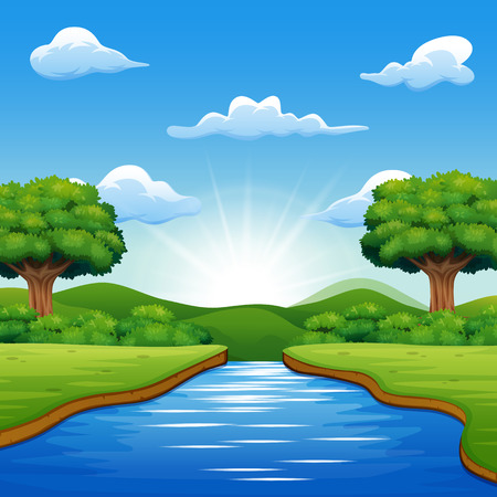 River cartoons in the middle beautiful natural scenery 일러스트