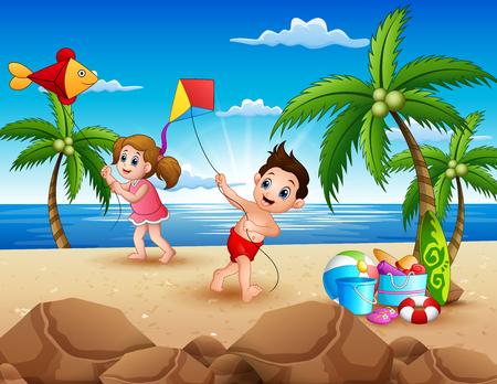 Cartoon von kleinen Kindern, die mit Drachen am Strand spielen Vektorgrafik