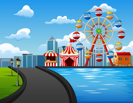 Illustration of amusement park with Ferris wheel on urban background Illustration