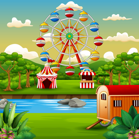 Cartoon of amusement park with nature landscape