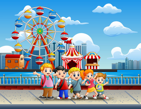 Cartoon of Children having fun on the lakeside with amusement park background