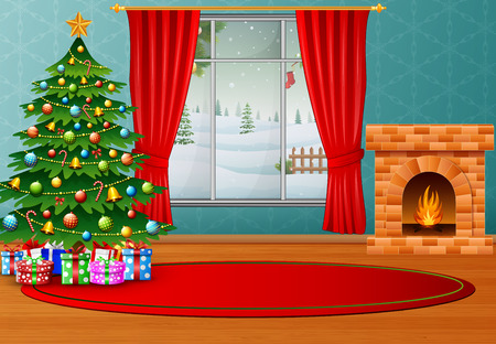 Christmas interior of room with winter landscape