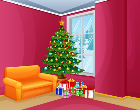 Christmas living room with pink nuanced
