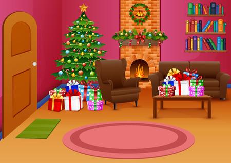 Salotto natalizio con sfumature rosa Vettoriali