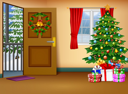 Christmas living room with winter lanscape