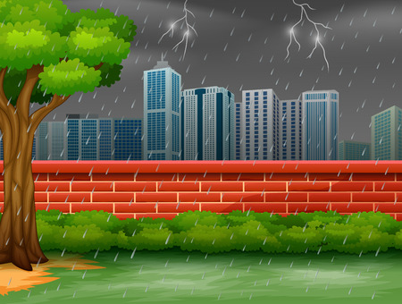 Background city scene with thunderstorm and lightning