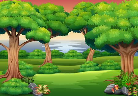 Fondo de bosque con la escena de la naturaleza. Ilustración de vector