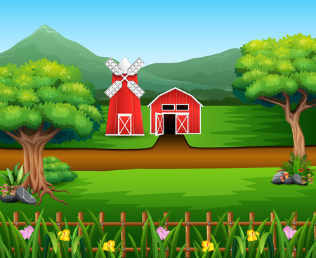Nature landscape with shed and windmill Illustration