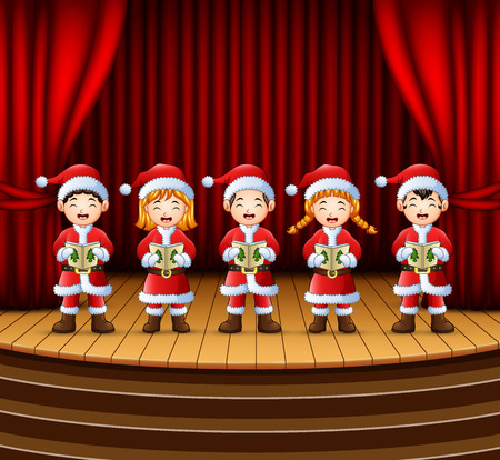 Group of children singing christmas carols on the stage Illustration