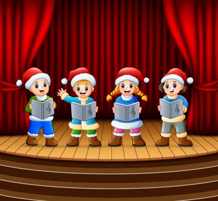 Cartoon children singing christmas carols on the stage Standard-Bild - 113230709