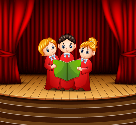 Cartoon of Children choir performing on stage