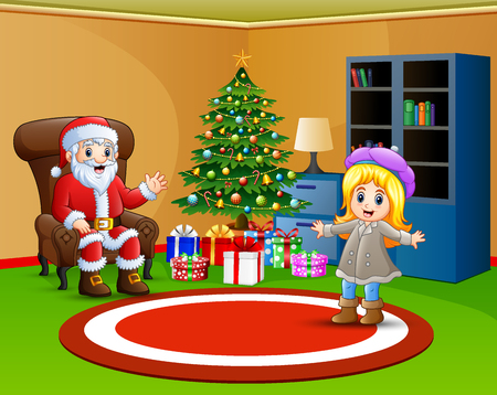Living room decoration for christmas and new year with santa and little girl 矢量图像