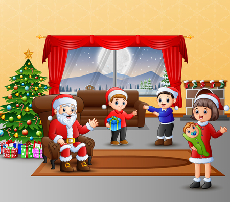 Happy santa claus and the family celebration a christmas