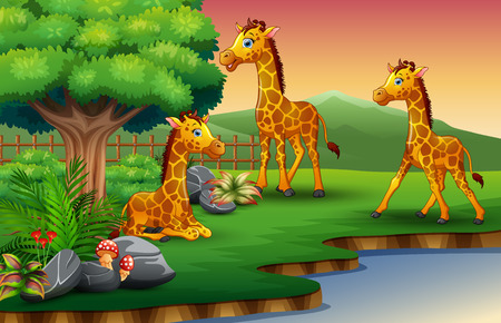Giraffe cartoon are enjoying nature by the river 向量圖像