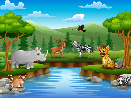 Animals cartoon are enjoying nature by the river Illustration