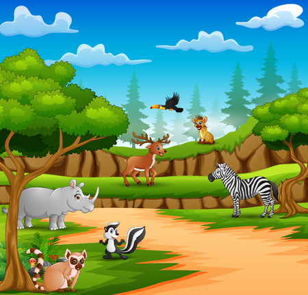 Happy animals cartoon on the nature scene Illustration