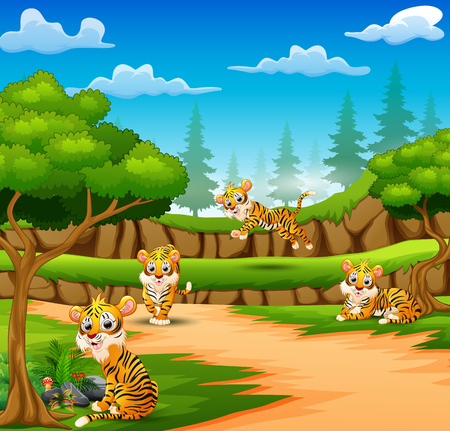 Tiger cartoon are enjoying nature in the forest
