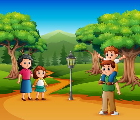 Happy family walk in a forest Ilustração Vetorial