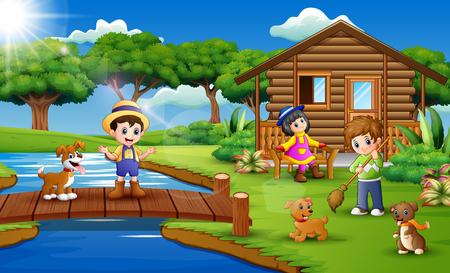 Young farmers activities with animals on farm Ilustración de vector