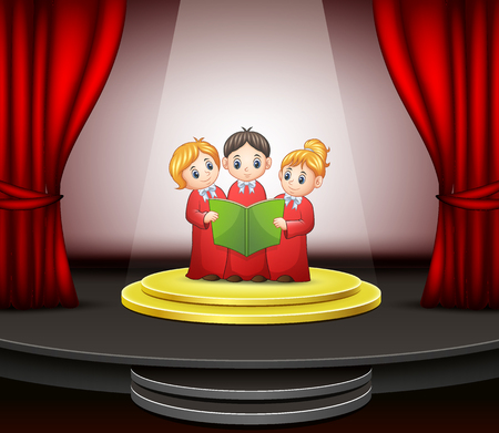 Cartoon of Children choir performing on the stage Illustration