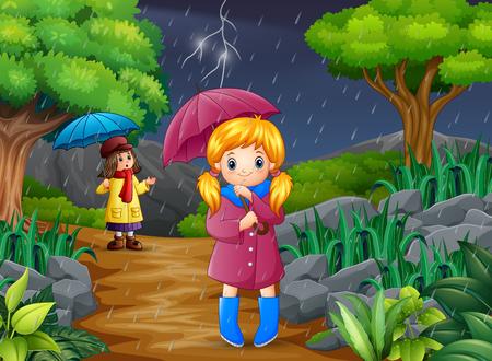 Dessin animé deux fille portant un parapluie sous la pluie dans la forêt