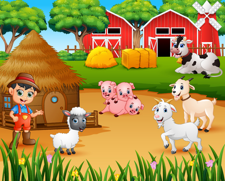Fermier et animal de ferme dans la basse-cour
