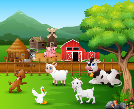 Farm scenes with different animals in the farmyard
