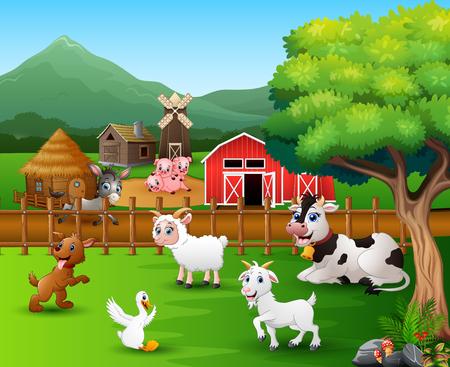 Scènes de ferme avec différents animaux dans la basse-cour Vecteurs