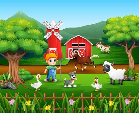 Cartoon of a farmer at his farm with a bunch of farm animals