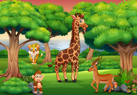 Cartoon wild animal enjoying in the jungle