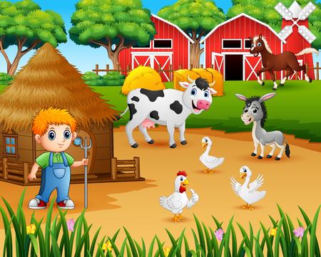 Farmer and farm animal in the farmyard 矢量图像