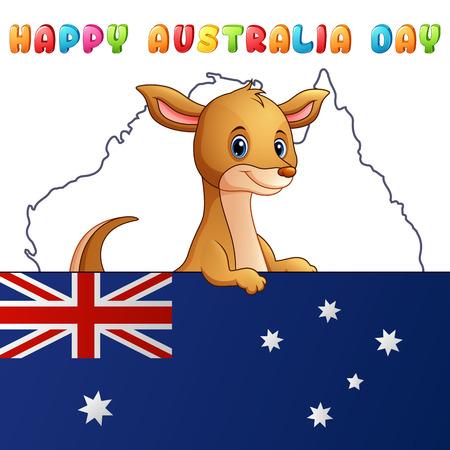 Cartoon cute kangaroo behind a flag on map background