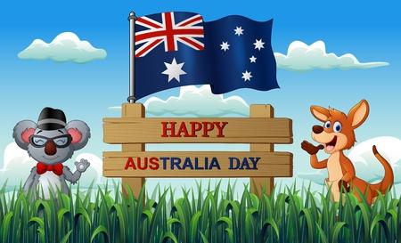 Happy Australia day with koala and kangaroo on the nature Çizim