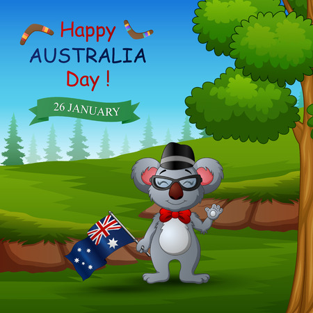 Happy Australia day with koala on the nature