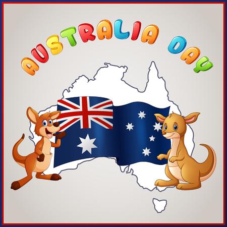 Kangaroos and Australian flag for Australia Day emblem