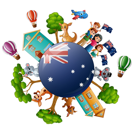 City with world concept on australia day