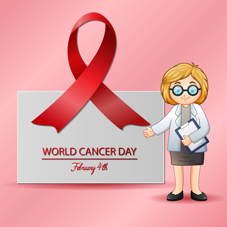 Female doctor pointing at medical.4 February world cancer day poster
