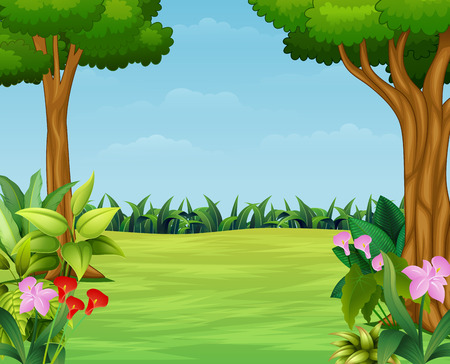 Cartoon of nature scene with beautiful park