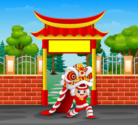 Cartoon of kid playing chinese dragon dance Illustration