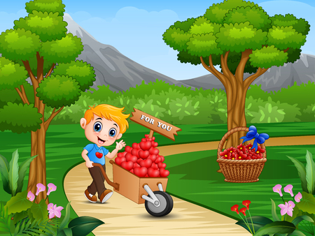 Cartoon boy pushing a pile of hearts in wood trolley on a park road Vettoriali