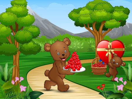 Happy bears celebrating a valentine day in the garden